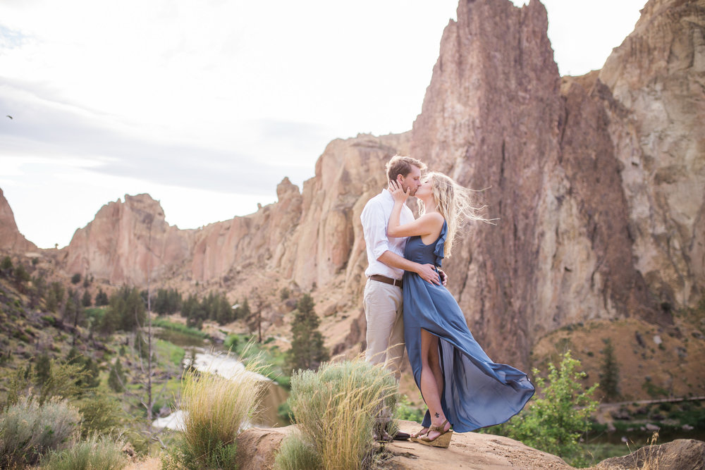 Smith Rock Engagement Session windblown dress