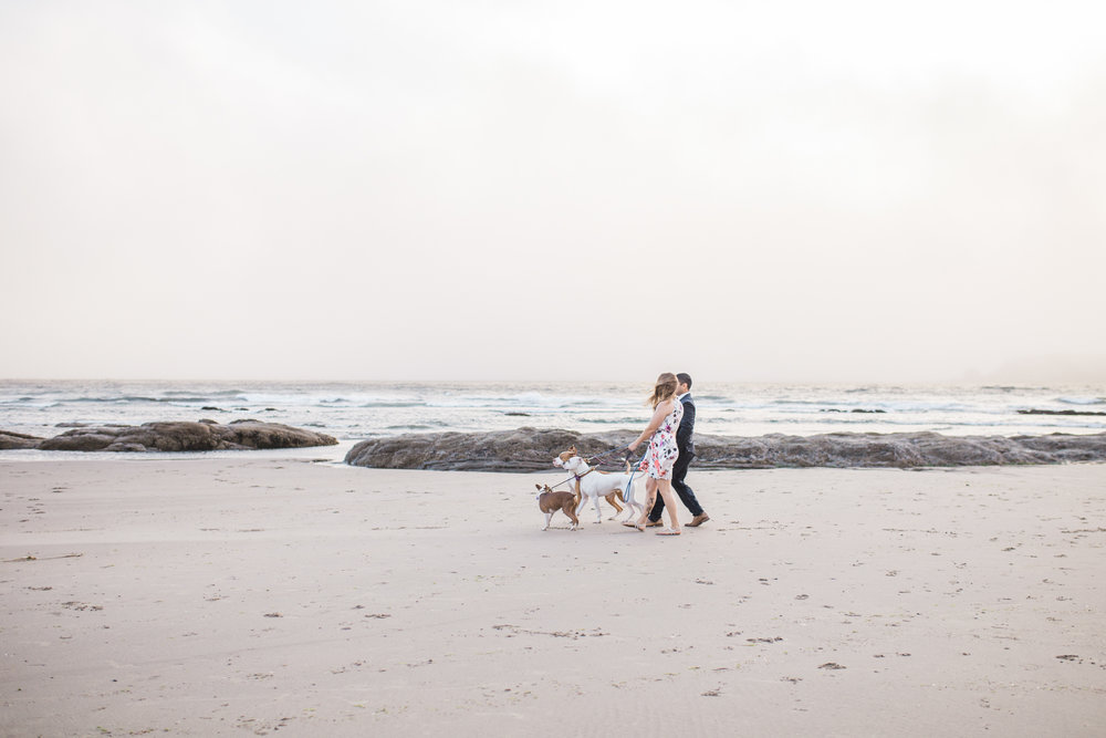 Oregon coast engagement session with dogs