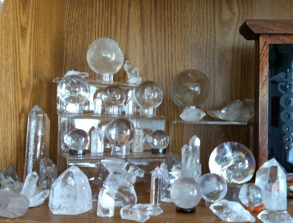 Quartz crystal balls, clusters, points and carvings