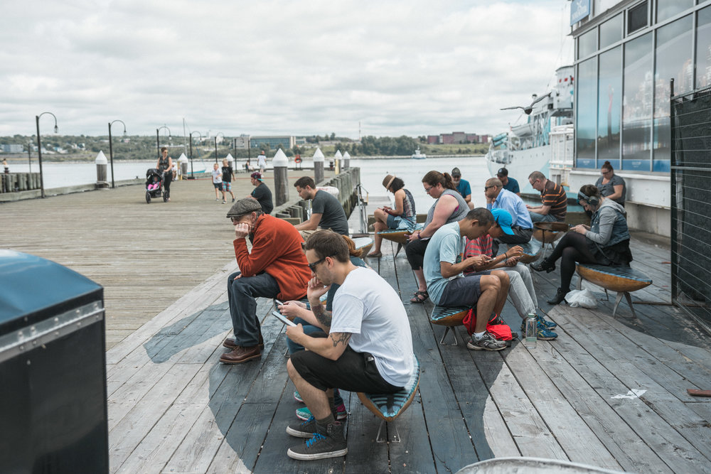 Pokémon Go players flock to a wi-fi hot spot on the Halifax waterfront, days after the game's release in Canada.