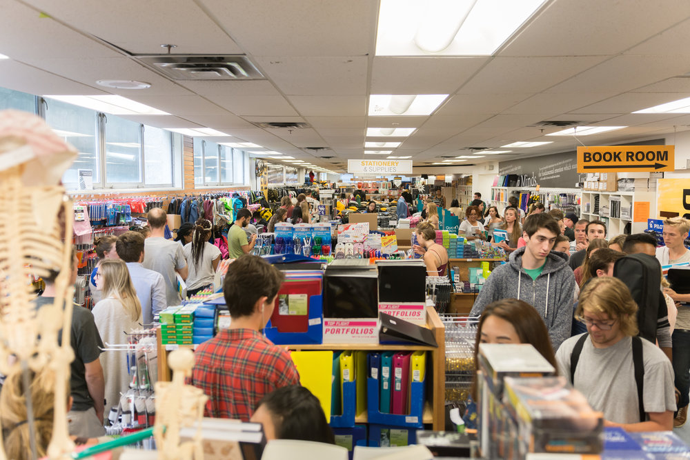Dalhousie students line up to buy books on the first day of classes.