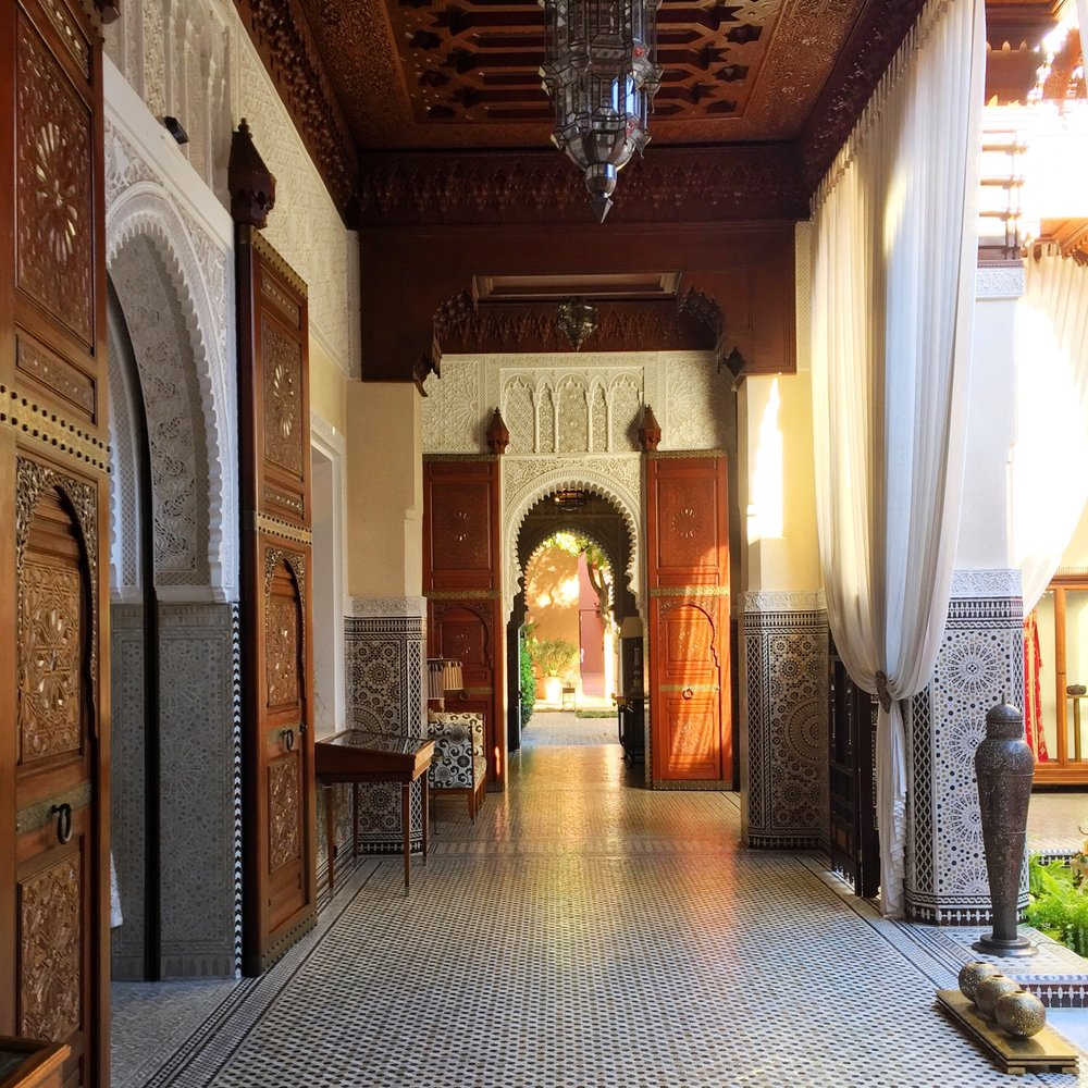"""You Can Live Like Royalty at this Marrakech Hotel Dreamed up by the King of Morocco (Travel + Leisure)   """"Marrakech is a big couscous with 24 vegetables and all the colors,"""" my guide Moustapha Chouquir said as he led me and my travel companions through the narrow lanes of the souk in Marrakech."""