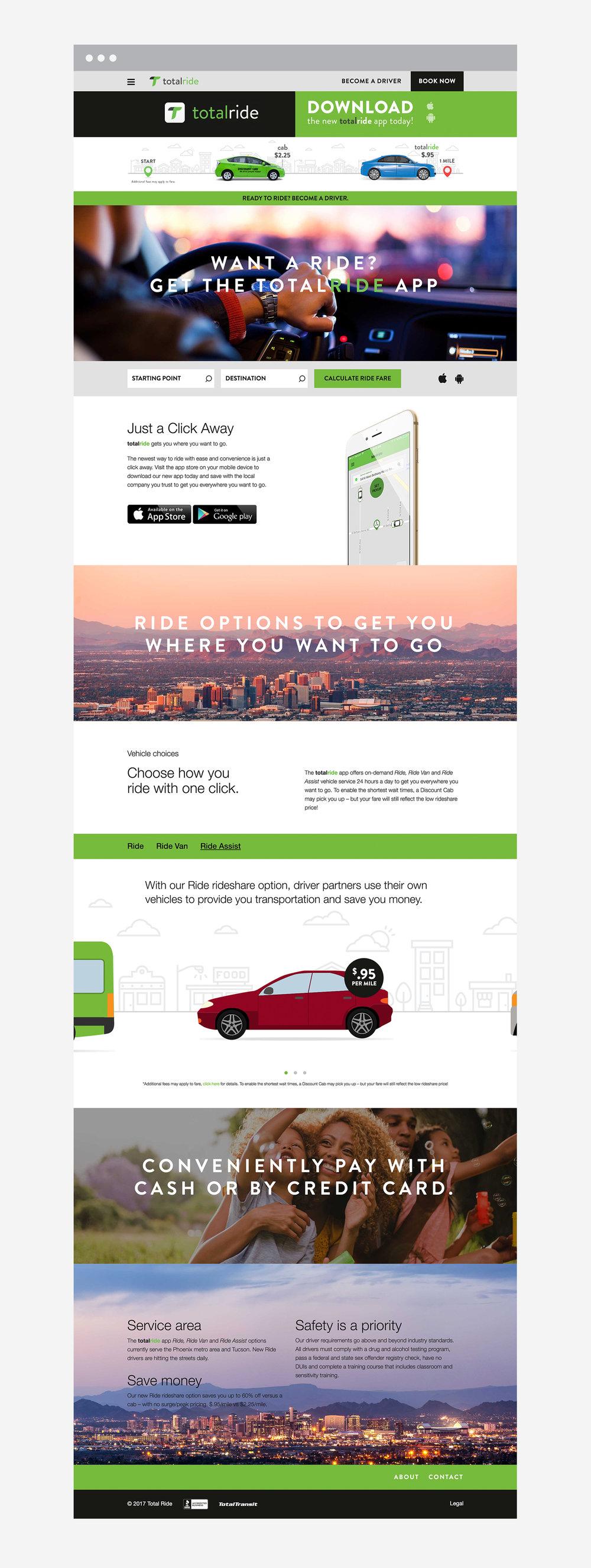 Website design and branding for Phoenix, Arizona transportation company and rideshare app