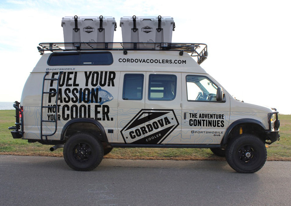 Branded truck design for outdoor lifestyle company Cordova Coolers