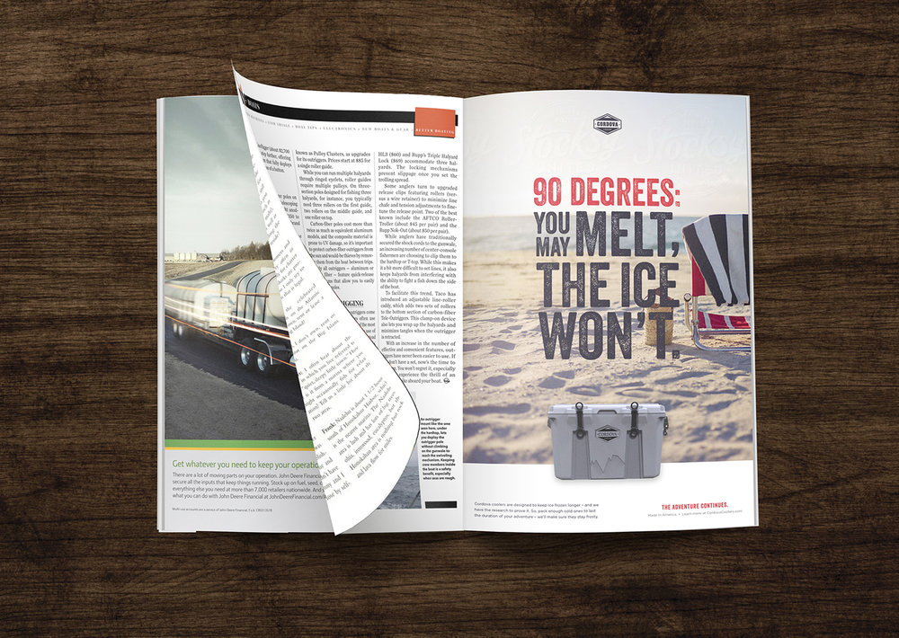 Print advertising design in magazine for outdoor lifestyle brand