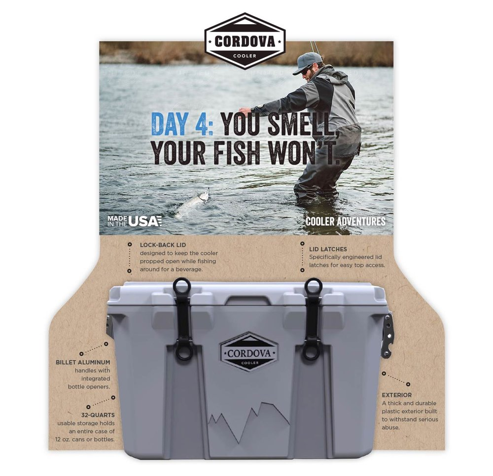 Marketing swag and brochure collateral design for Cordova Coolers