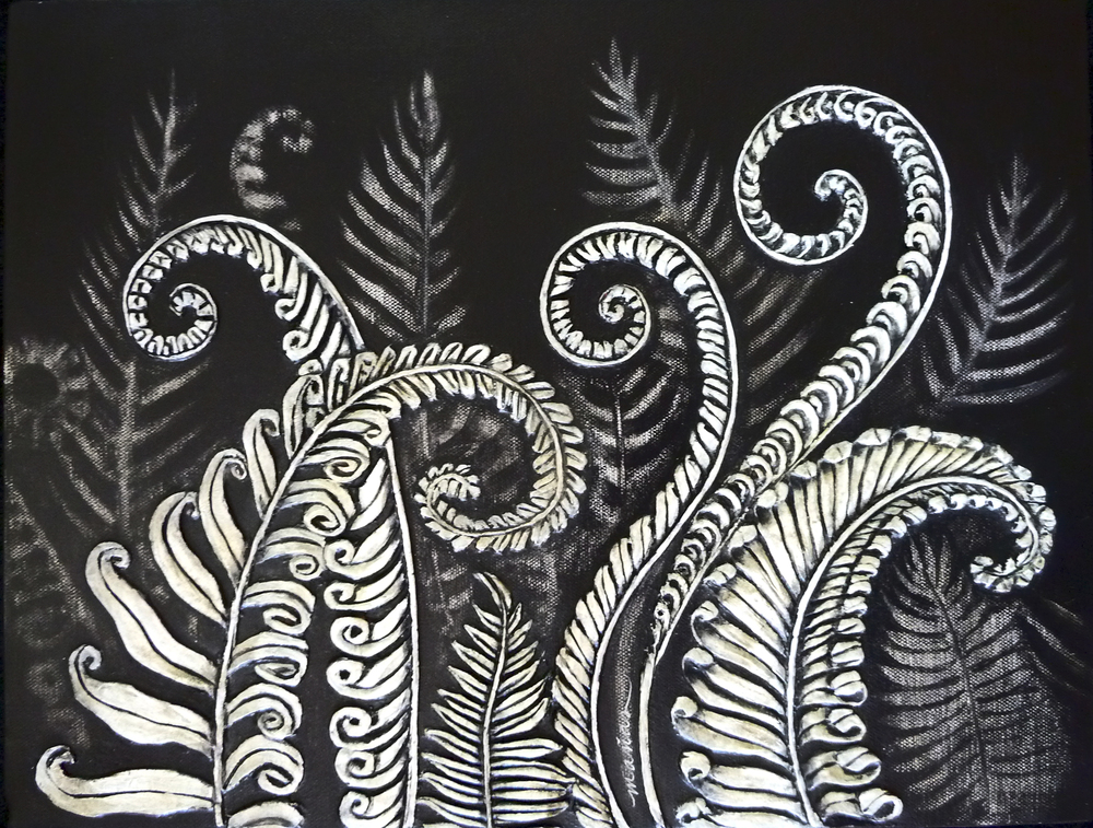 Ferns Unfurling    Paper clay/Mixed Media on Canvas    16x20