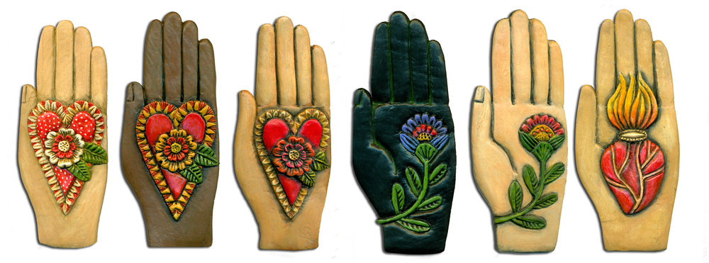 "HEARTFELT HANDS, PAPER CLAY AND ACRYLIC, EACH HAND IS 2 1/4"" X 5 1/2""."