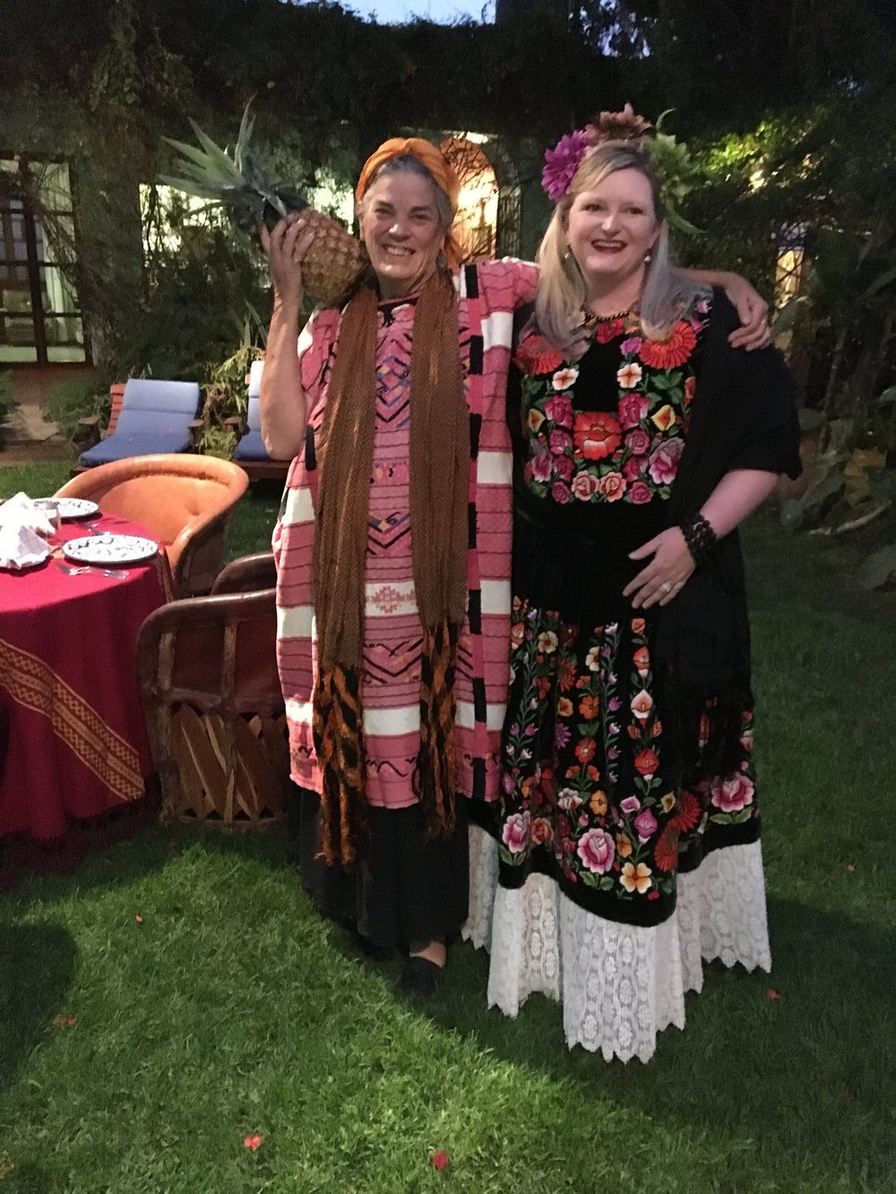 Jane, the owner of the casa and terribly funny person, is on the left, and Brooke Kyle, one of our group is on the right in her new beautiful outfit.