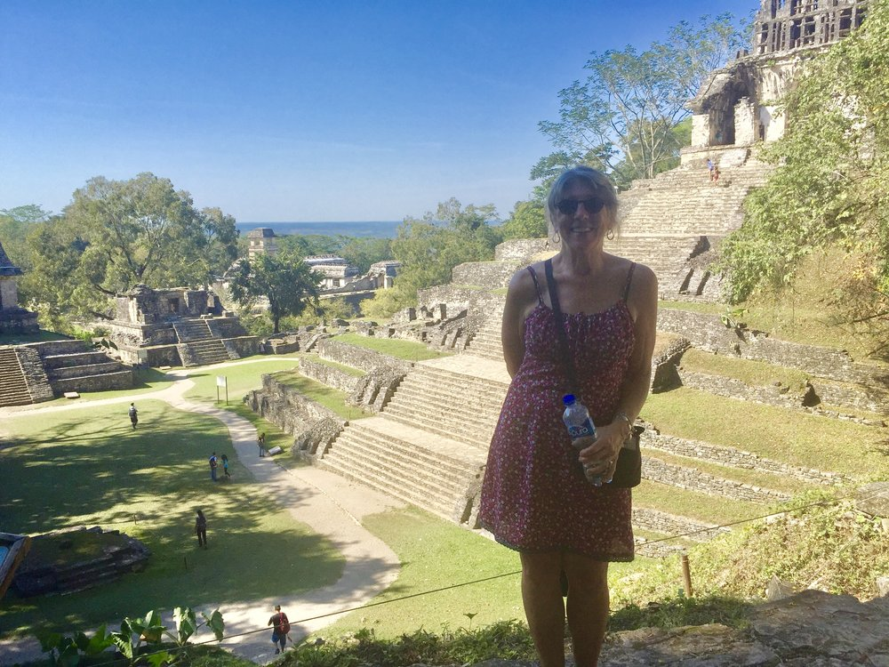 Here I am at the top of one of the pyramids of Palenque. It was horribly hot and humid this day, but worth the trek.