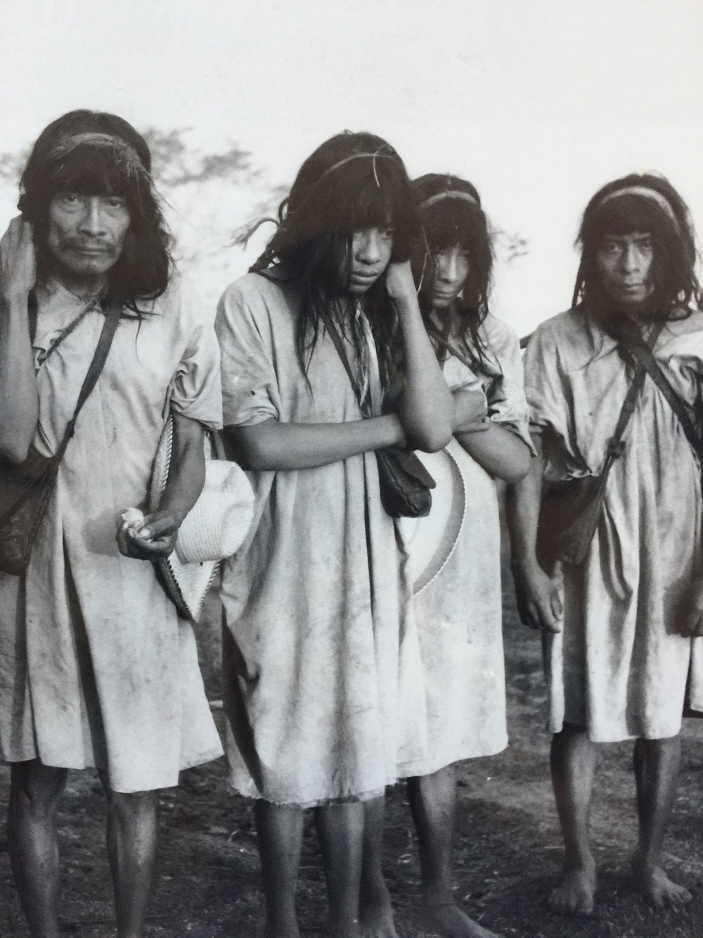 The primitive Lacondon people escaped the Spanish rule and survived for 400 years in the jungles of Chiapas near the border of Guatemala until they were discovered in the 19th century. This is a photo of a photo taken by Gertrude Duby Blom in the early 1900's.