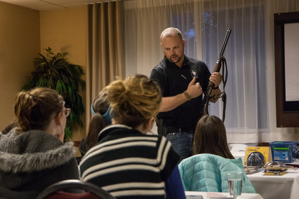 "NRA certified firearms instructor Derek LeBlanc discusses proper handling of a lever-action rifle at a Kids S.A.F.E. gun safety course in Springfield, Ore., on Jan. 22, 2017. ""I want everyone to be armed, but I also don't want any family to experience a tragedy."""