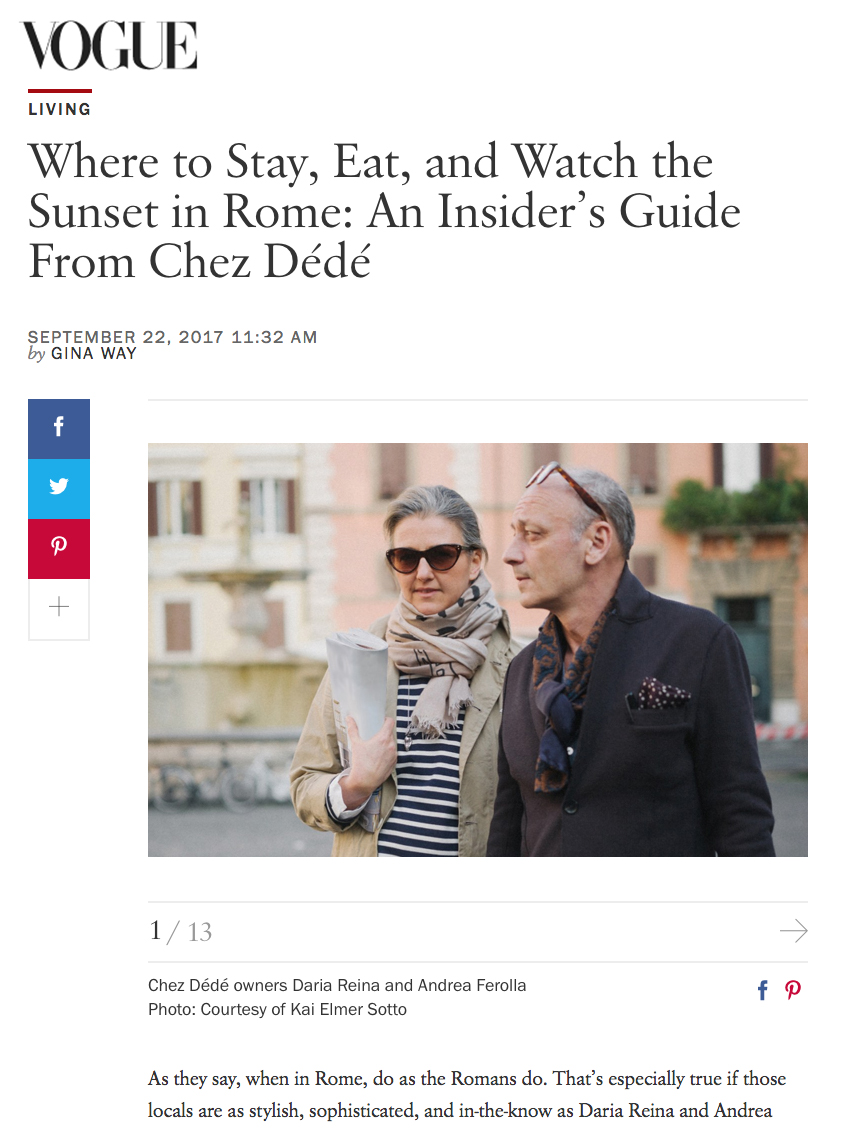 Where to Stay, Eat and Watch the Sunset in Rome: An Insider's Guide From Chez Dede