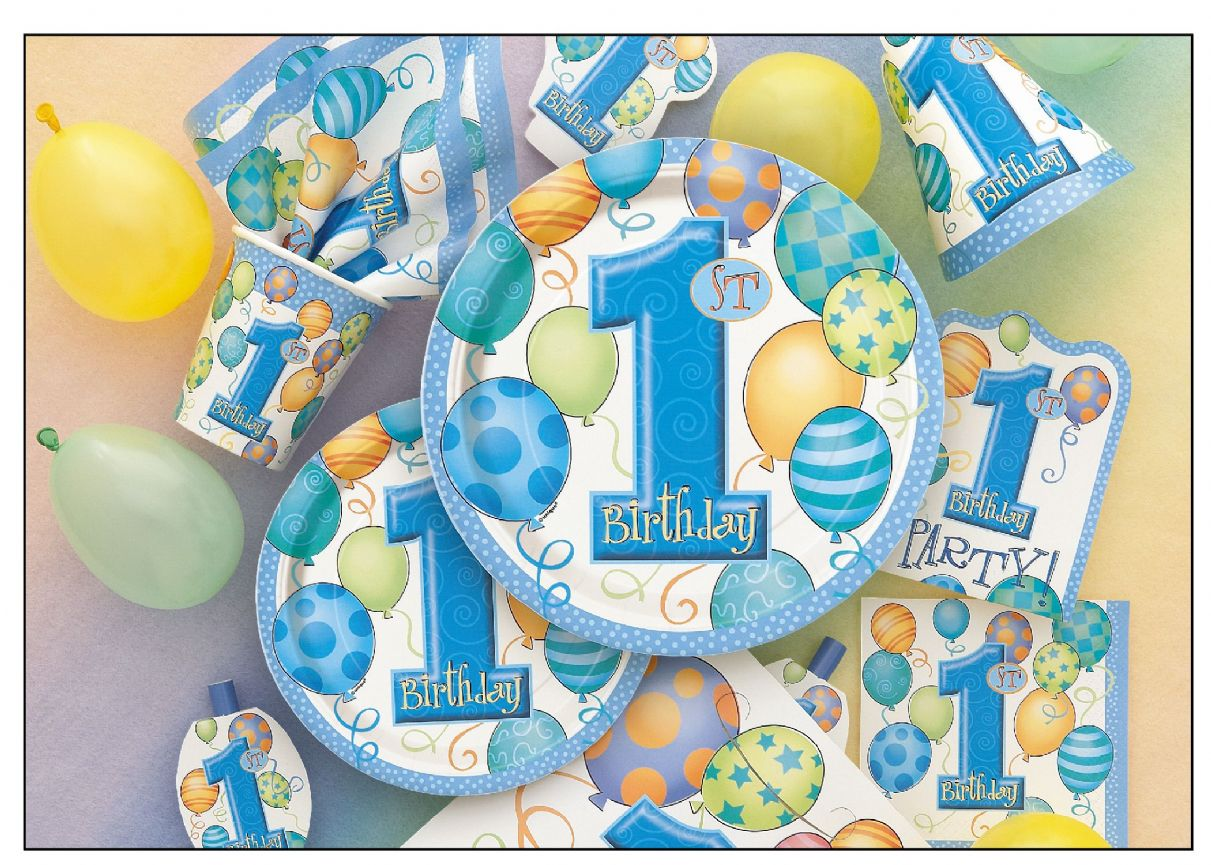 Boys 1st Birthday Party Tableware Decorations First No