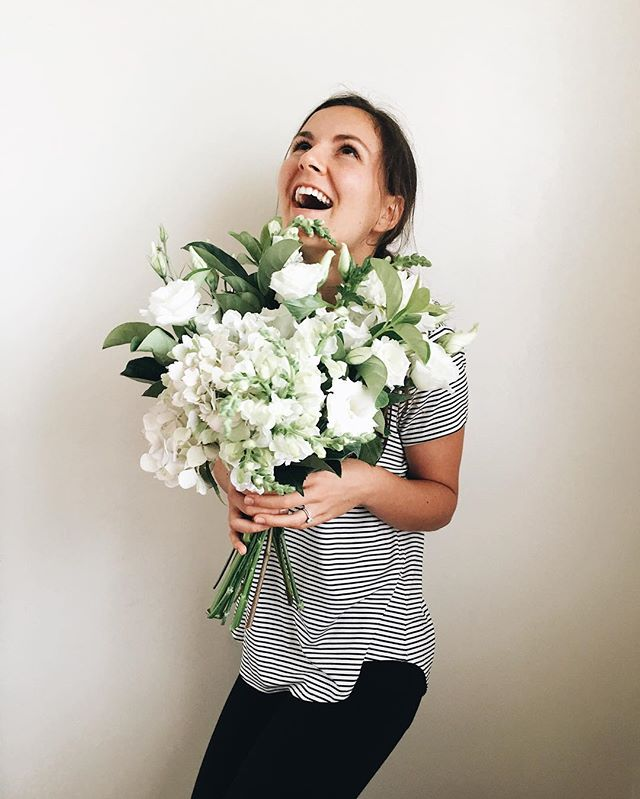 My face when hubby brought home surprise anniversary blooms by @louisewoodhouseflowers tonight! I get just a tad overly excited over fresh blooms. #oneyear #spoiled