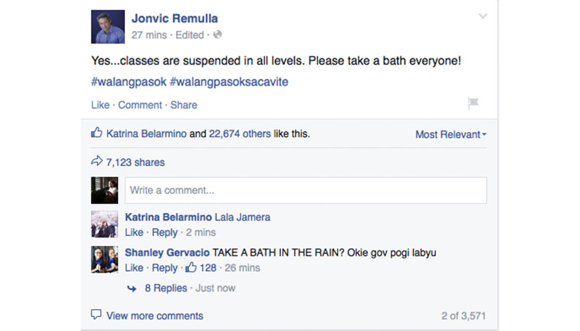 Jovic Remulla Class Suspension Post About Take A Bath