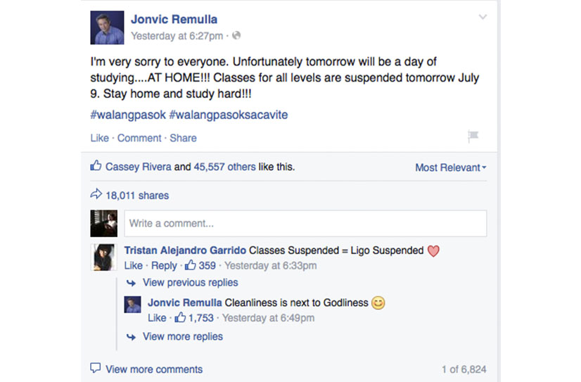 Jovic Remulla Class Suspension Post About Studying At Home