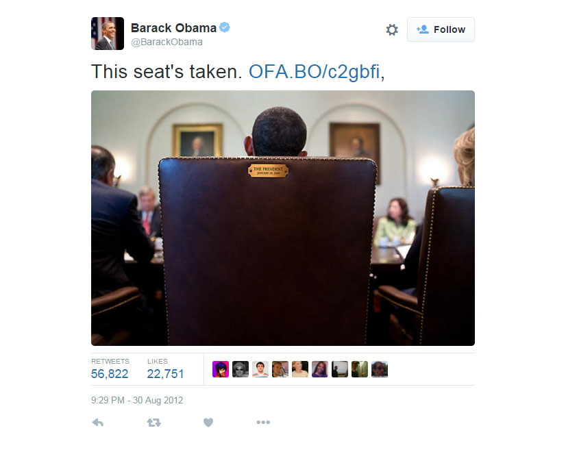 US President Barack Obama: This Seat's Taken