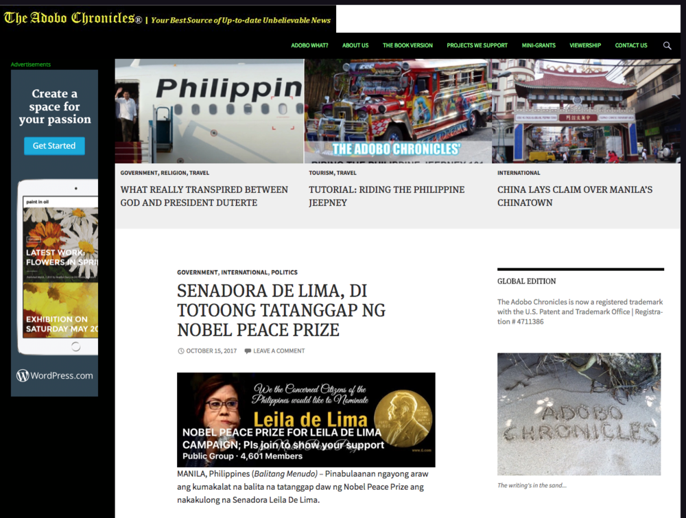 Screenshot of The Adobo Chronicles website