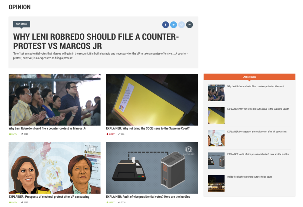 Screenshot of Rappler's opinion page on their website