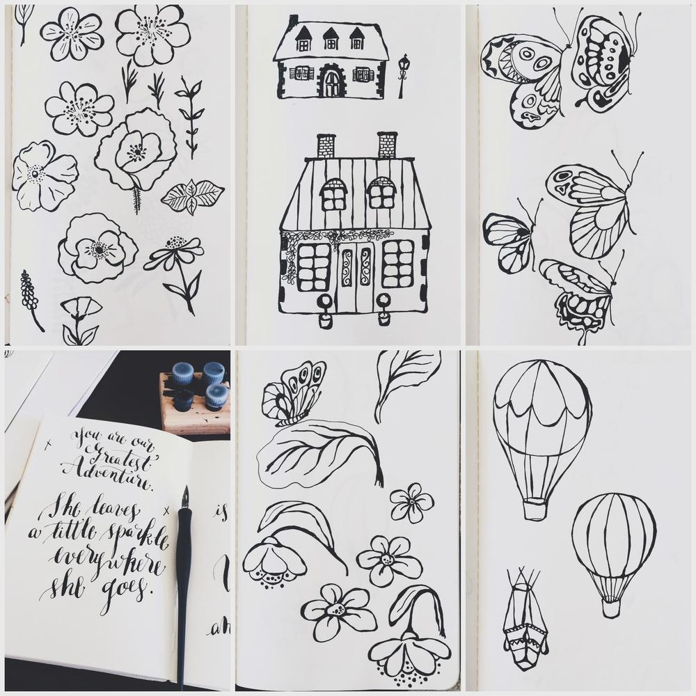 Hand drawn sketches