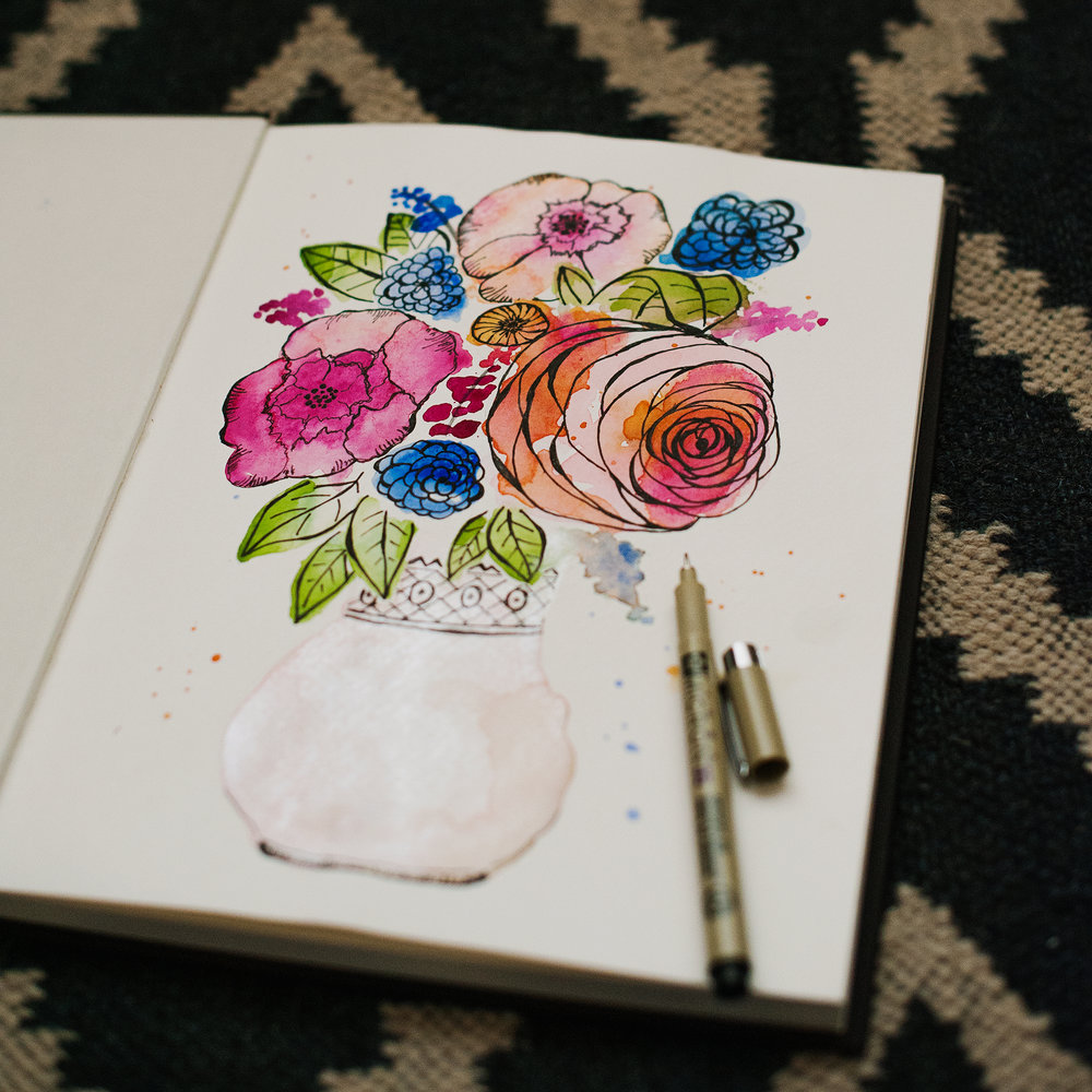 Garden flowers • watercolors & ink pen exploration --- I love laying down the watercolors first, and then letting my imagination see shapes and forms in the color pigments