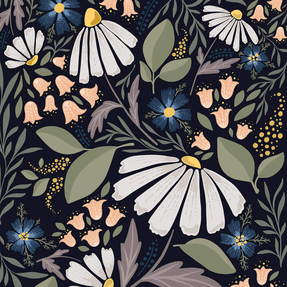 Wildflower fields at night - Elena Wilken surface pattern design