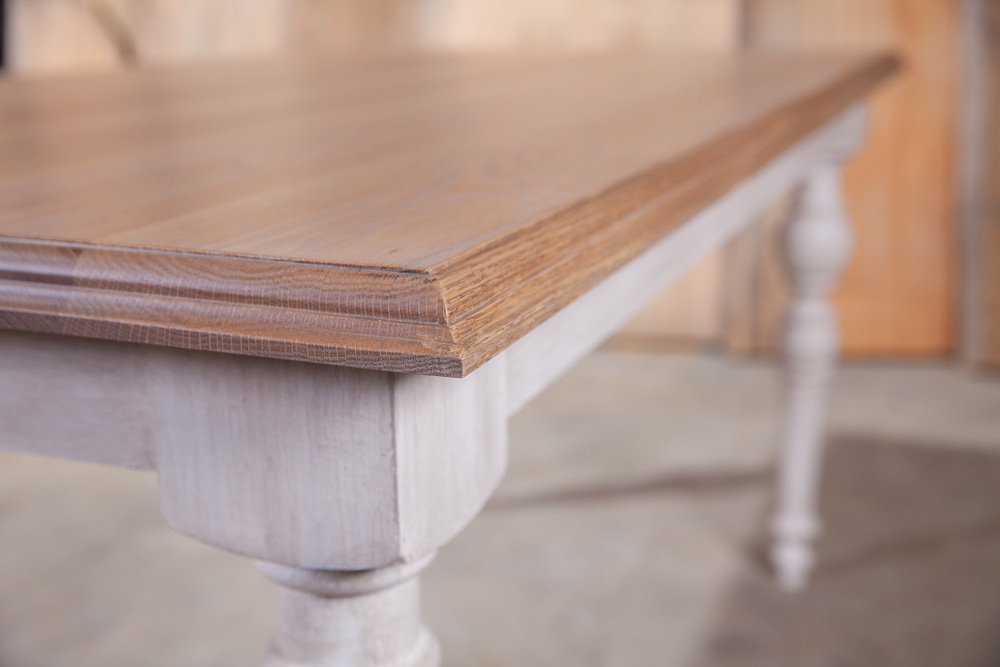 """Solid Appalachian White Oak  72""""L x 48""""W x 18""""H Dining Table  Natural Finish Table Top  Sealed in Matte Varnish  Hand Applied Sand Dune Painted Faux Base, Custom Turned Legs  Gordon"""
