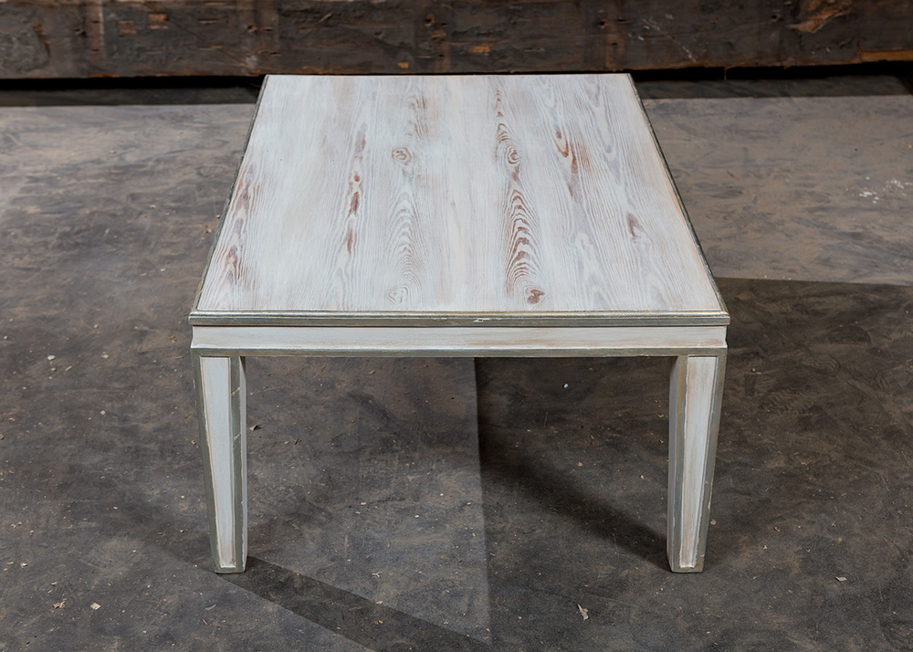 """Solid Authentic Antique Pine  60""""L x 36""""W x 18"""" H Coffee Table  Weathered Painted Finish  Sealed in Old World Wax  Lovelace"""