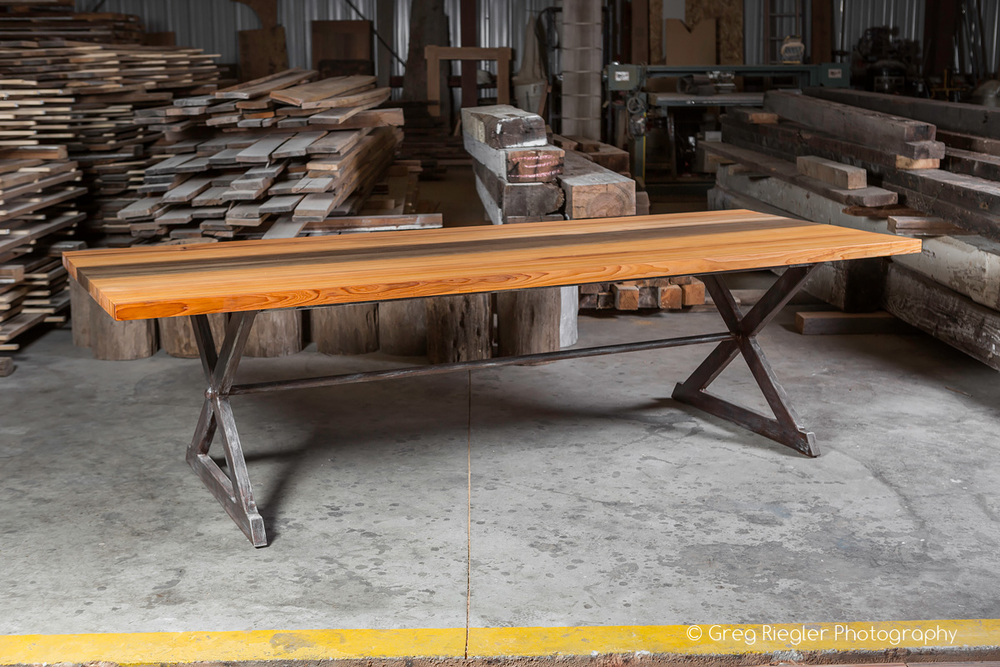 """Solid River Recovered Cypress  84""""x 42""""W x 30""""H Dining Table  Natural Finish Table Top  Sealed in European Harding Oil  Rust & White Washed Metal Trestle Base  Barnes"""