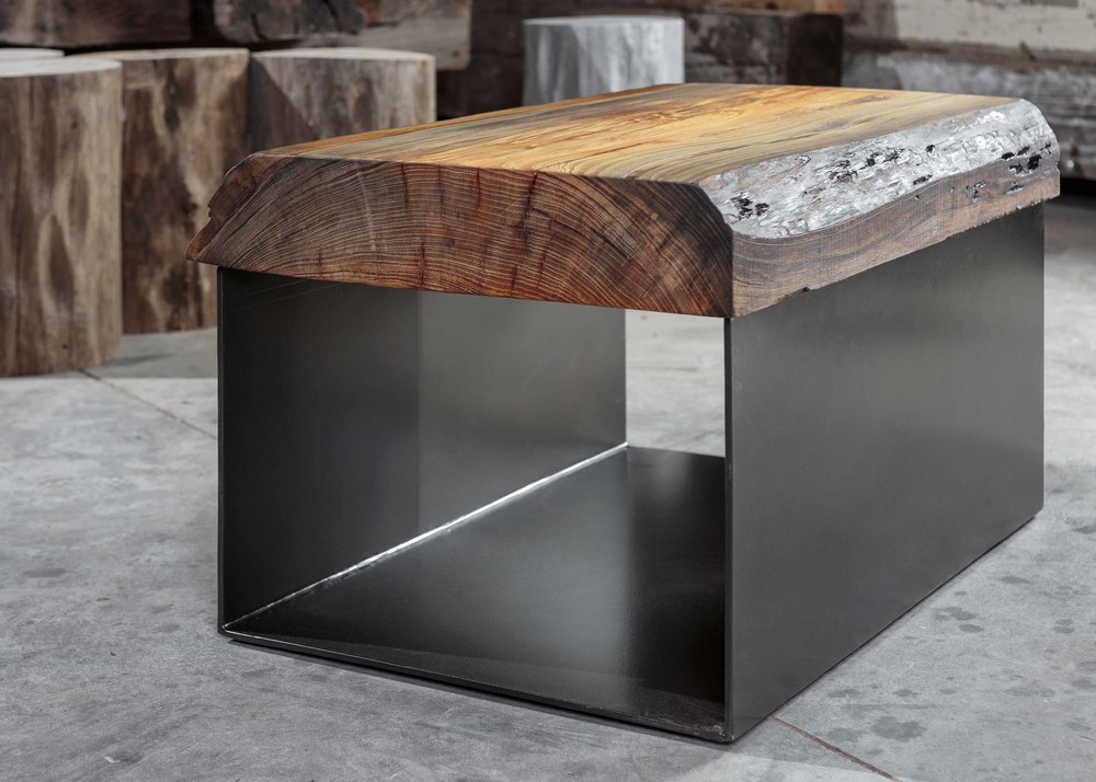 """Solid River Recovered Cypress Slab  42""""L x 30""""W x 18""""H Coffee Table  Natural Finish  Sealed in European Harding Oil  Iron Base Powder Coated in Black Gloss  Duce"""
