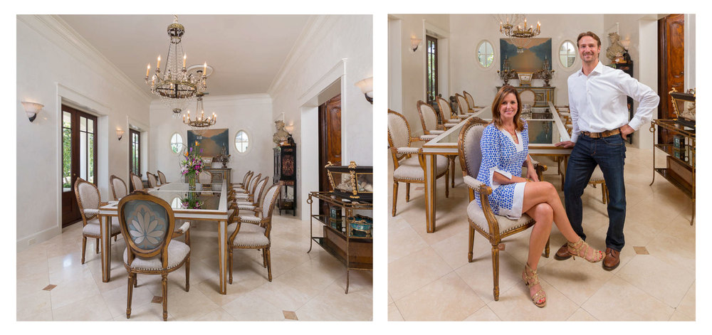 Gold Leaf, Antique Mirror top Dining Table for the home of Emeril and Alden Lagasse.