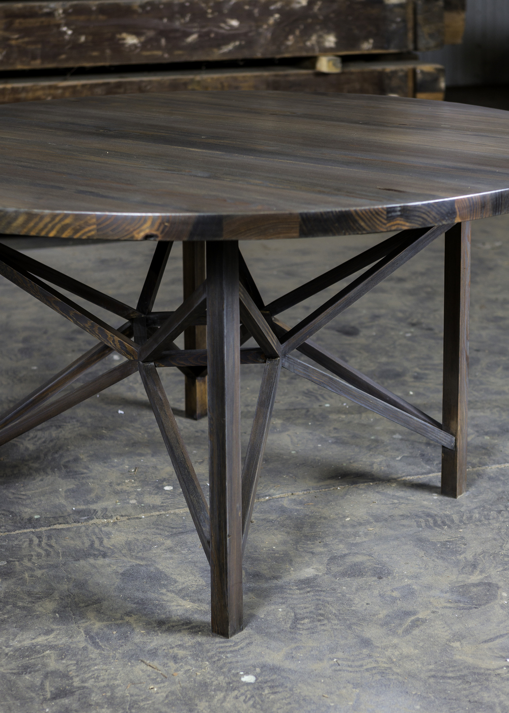 """Solid Authentic Antique Pine  64"""" Round Dining Table  Stained in Mocha  Sealed in Old World Wax  Gonzalez"""