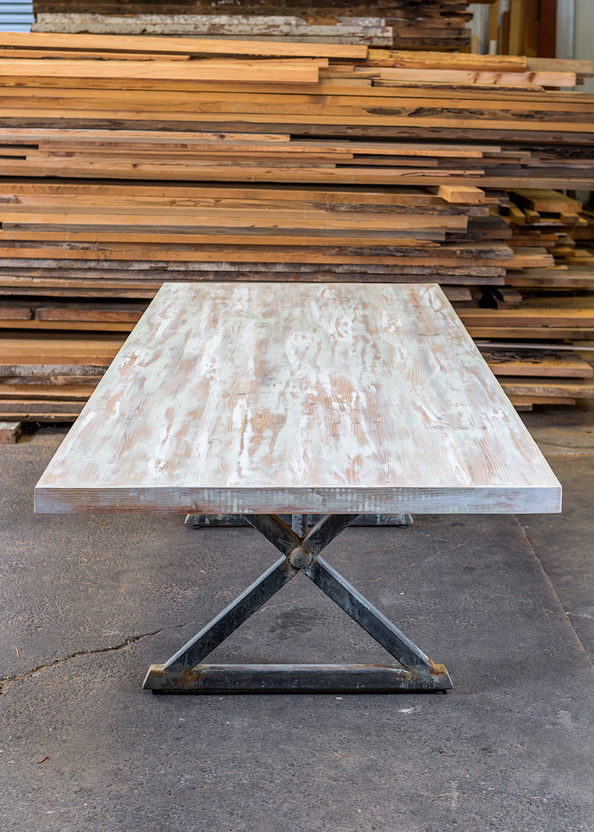 """Solid Authentic Antique Pine  84""""L x 40"""" W x 30""""H Dining Table  Washed in Aged Dove White & Teal Faux  Sealed in Old World Wax  Rust & White Washed Metal Trestle Base  Martin"""