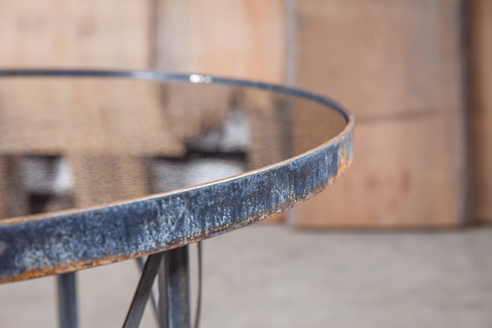 """Aged Iron & Antiqued Mirror  24"""" Round Occasional Table  Sealed in Matte Varnish  Authentic Rust Patina Base  Lewis"""