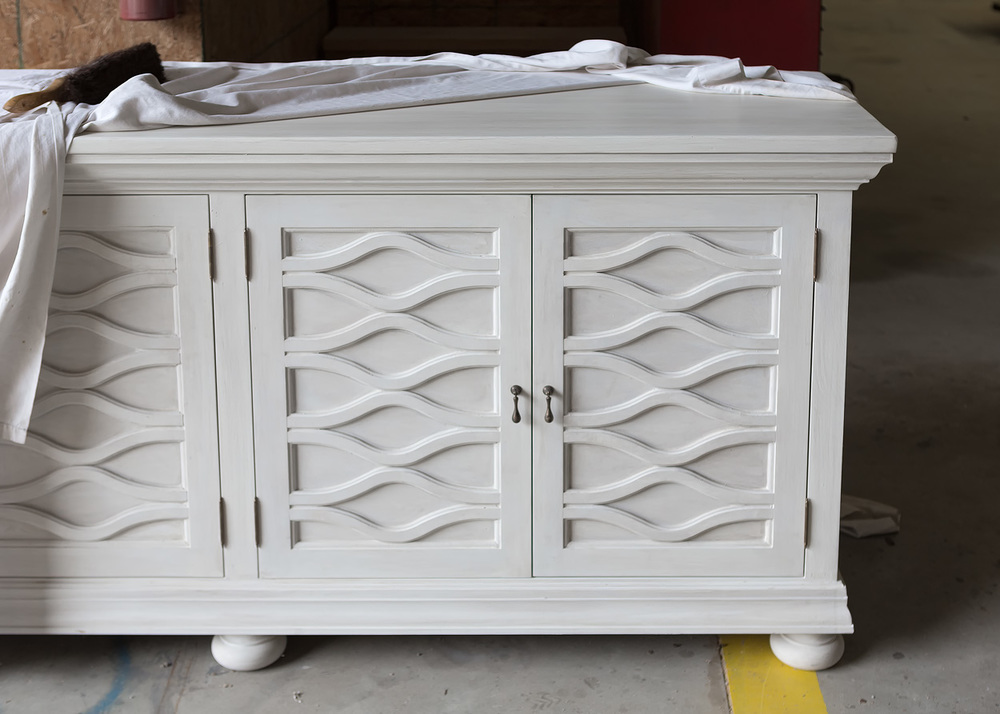 """Solid Appalachian Poplar  120""""L x 24""""W x 30""""H Media Console  Hand Applied Dove White Paint  Sealed in Matte Varnish  McGriff"""