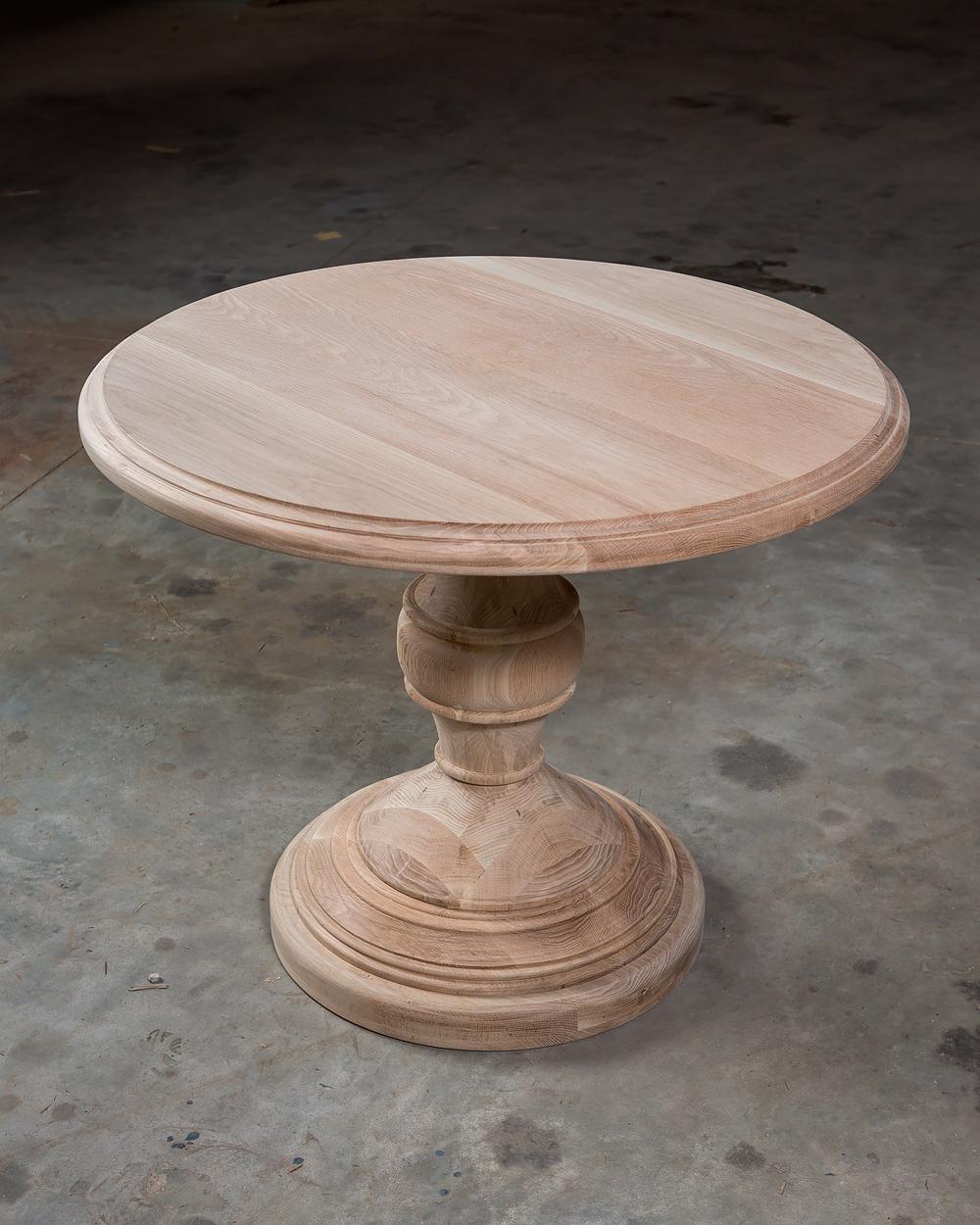 """Solid Appalachian White Oak  42"""" Round Single Pedestal Breakfast Table   Ritchey"""
