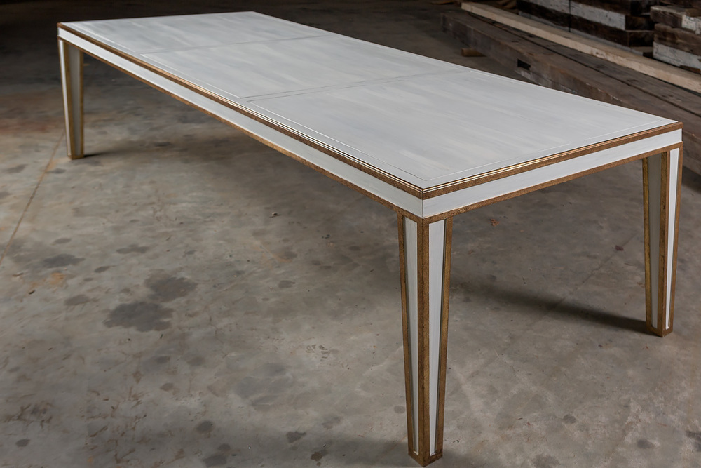"""Solid Appalachian Poplar  108""""L x 40""""W x 30""""H Dining Table  Hand Applied Taupe & Cream Paint Faux  Sealed in Old World Wax  Gilded in Authentic Gold Leaf  Mother Mayes"""