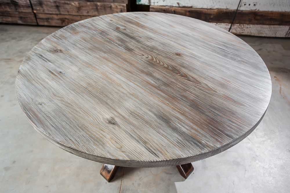 """Solid Authentic Antique Pine  60"""" Round Dining Table  Hand Applied Taupe & Cream Paint Faux  Sealed in European Harding Oil  Embellished Forged Iron Nail Heads  Fuentes"""