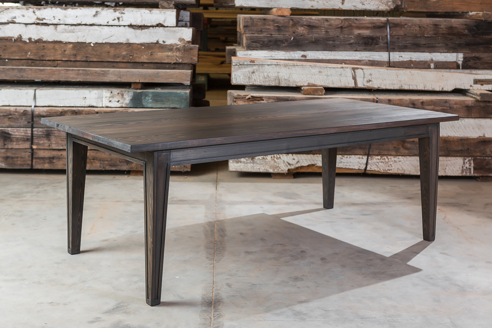 """Solid Antique Pine  84""""L x 40""""W x 30""""H Farm Table  Stained in Dark Grey  Sealed in Old World Wax  30A"""