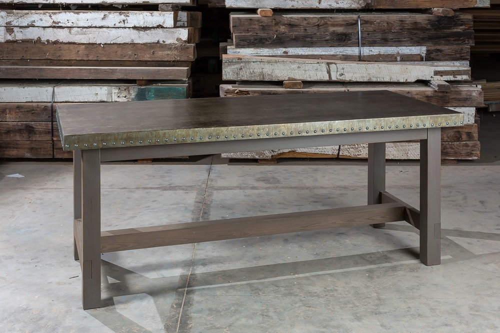 """Commercial Grade Zinc  84""""L x 40""""W x 30"""" Dining Table & Ant. Pine Base  Iridescent Bronze Faux Patina  Sealed in Matte Varnish  LaCroy"""