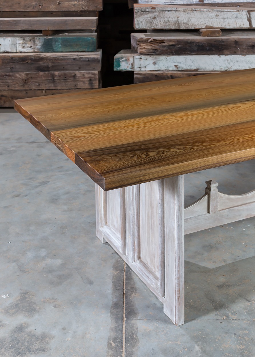 """Authentic River Recovered Cypress  96""""L x 40""""W x 30"""" Vertical Grain Dining Table  Natural Finish Table Top  Sealed in European Harding Oil  Hand Applied Taupe & Cream Painted Faux Base  Fink"""
