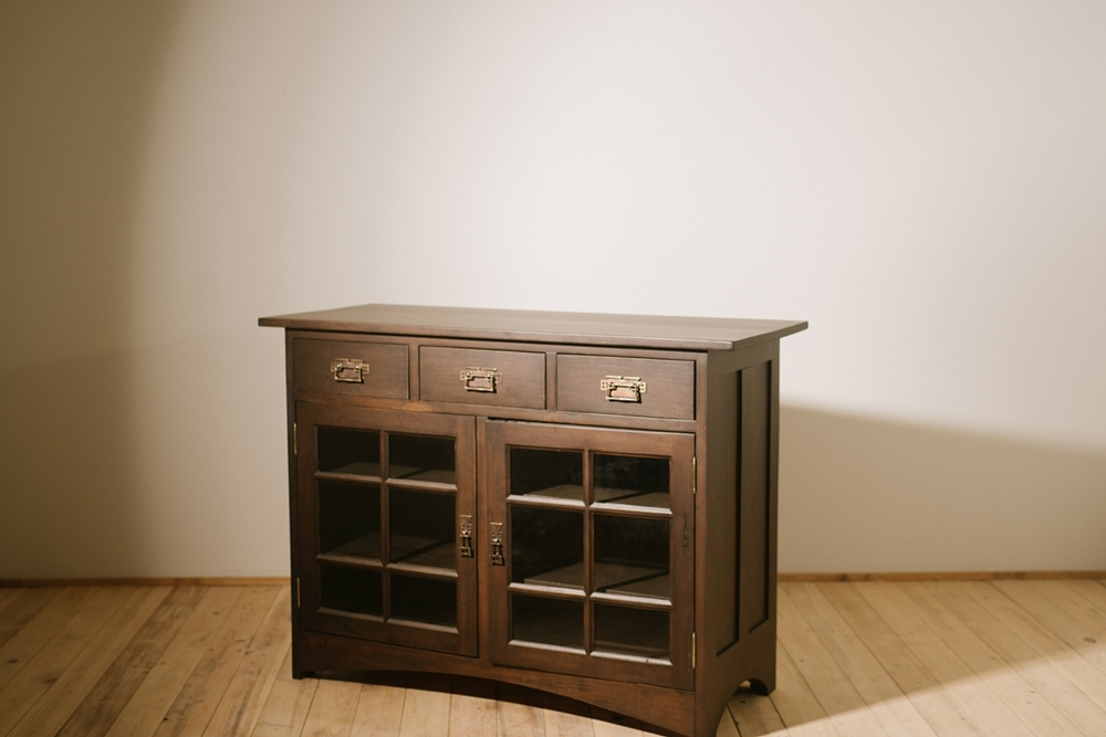 """Solid Custom Provided Pecan  55""""L x 27""""W x 50""""H Dining Hutch  Stained in Dark Chocolate  Sealed in Matte Varnish  Merelli"""