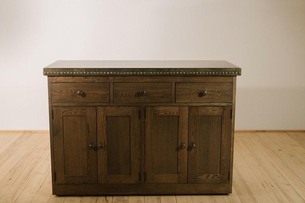 """Solid Appalachian White Oak  60""""L x 27""""W x 50""""H Dining Hutch  Stained in Charcoal Grey  Sealed in Gloss Varnish  Commercial Grade Zinc Counter Top, Hand Applied Blackened Faux, Embellished with Zinc Nail Heads  Dunham"""