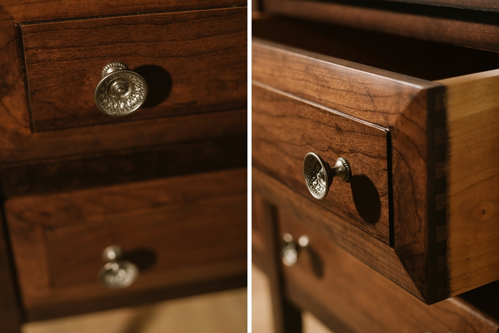 """Solid Appalachian Cherry  50""""L x 24""""W x 48""""H Four Drawer Chest  Stained in Mocha  Sealed in Satin Varnish  Embellished in Schaub Goblet Pulls  Dunham"""