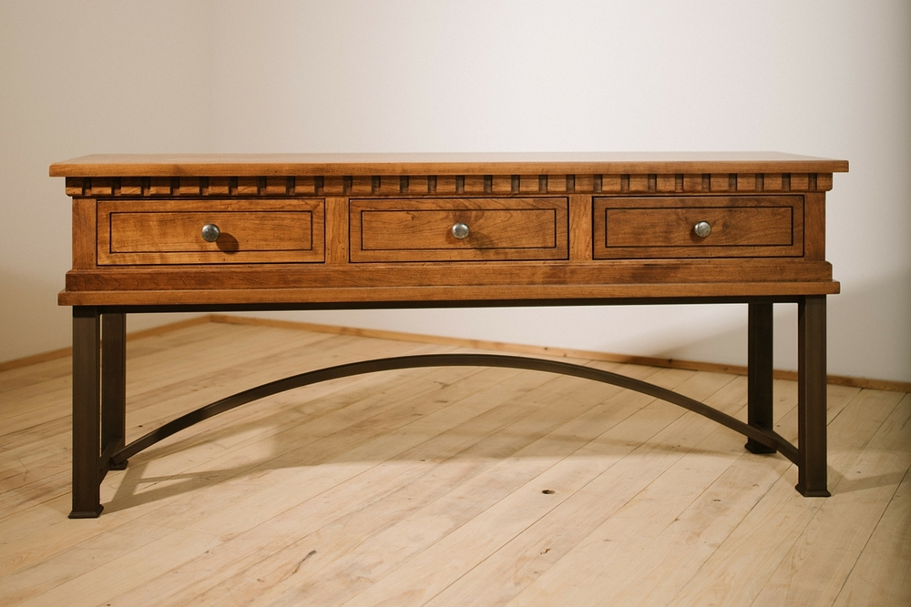 """Solid Appalachian Cherry  72""""L x 18""""W X 30""""H Sofa Table  Stained in Mocha  Sealed in Satin Varnish  Hand Rubbed Blackened Patina Metal Base  Dunham"""