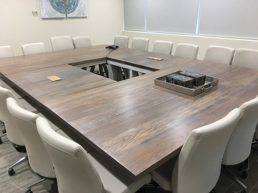 Custom Conference Tableu0026nbsp; SOLID APPALACHIAN WHITE OAK TABLE TOP +  STAINED IN CLASSIC CERUSE +