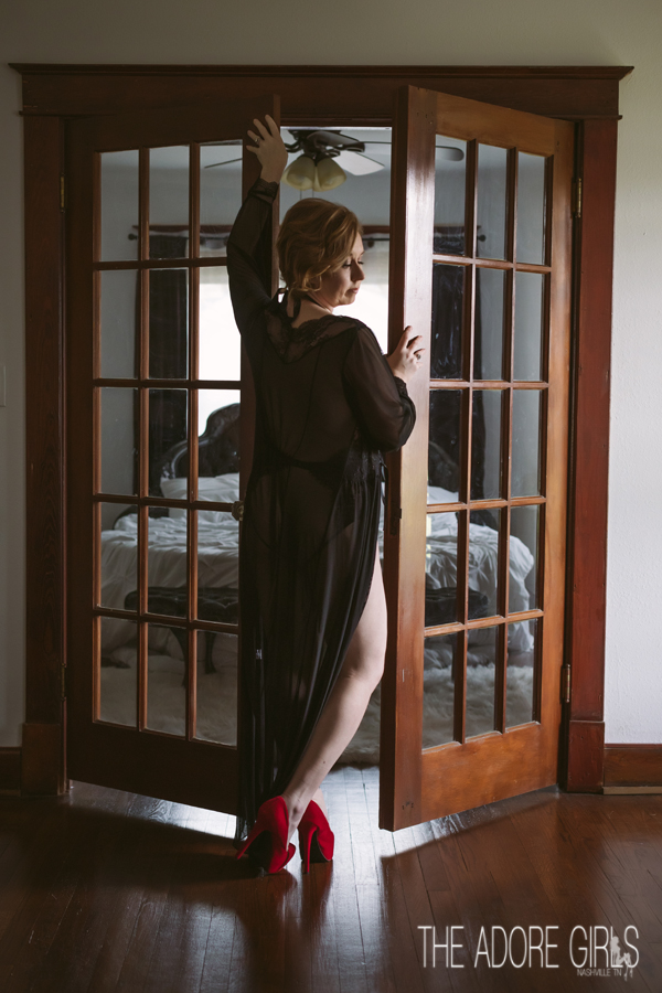The Adore Girls Boudoir Photography doors and red heels