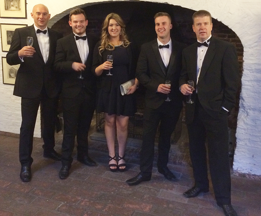 Left to right John Leather (Technical Manager), Brett Gray (Trainee technician), Alana Williamson (Trainee technician), Edward Naylor (Trainee technician), Paul Hamilton (Technical Director)
