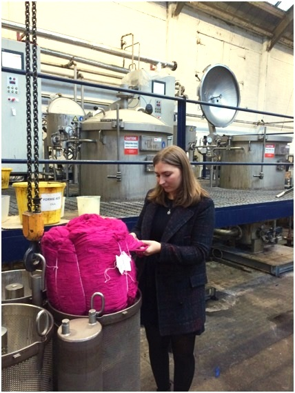 Geri looking at some of the recently dyed fibres in the dye house.